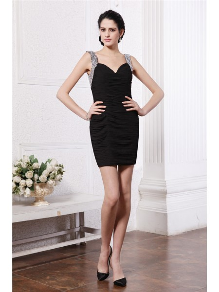 Sheath/Column Straps Sleeveless Beading Short Chiffon Cocktail Dresses