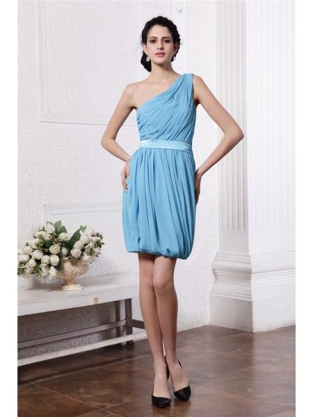 Sheath/Column One-Shoulder Sleeveless Pleats Short Chiffon Cocktail Dresses
