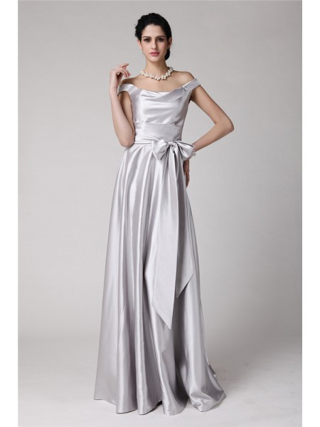 Sheath/Column Off-the-Shoulder Sleeveless Sash Long Elastic Woven Satin Dresses