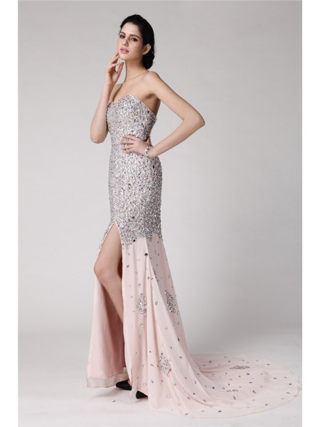 Trumpet/Mermaid Sweetheart Sleeveless Beading Rhinestone Long Chiffon Dresses