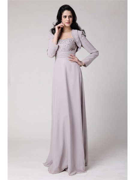 Sheath/Column Strapless Sleeveless Beading Pleats Chiffon Mother of the Bride Dresses