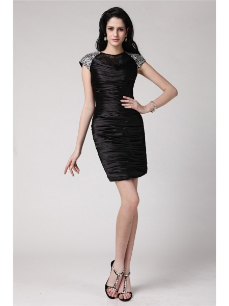 Sheath/Column Scoop Short Sleeves Beading Lace Short Elastic Woven Satin Cocktail Dresses