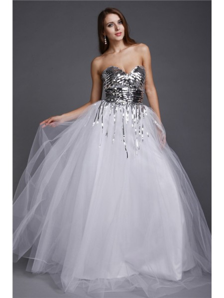 A-Line/Princess Sweetheart Sequin Sleeveless Long Net Dresses