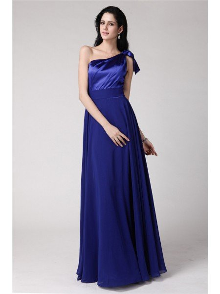 A-Line/Princess One-Shoulder Sleeveless Long Pleats Elastic Woven Satin Chiffon Dresses