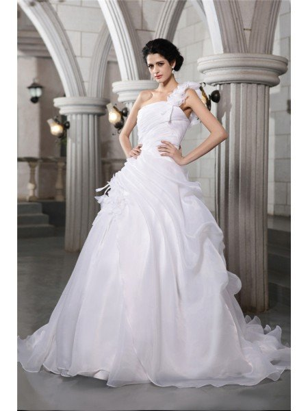Ball Gown One-Shoulder Sleeveless Pleats Long Organza Wedding Dresses