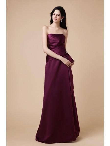 A-Line/Princess Strapless Sleeveless Beading Pleats Long Satin Dresses