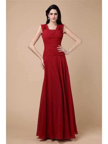 Sheath/Column Beading Pleats Long Chiffon Dresses