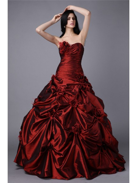 Ball Gown Strapless Sleeveless Hand-Made Flower Long Taffeta Dresses
