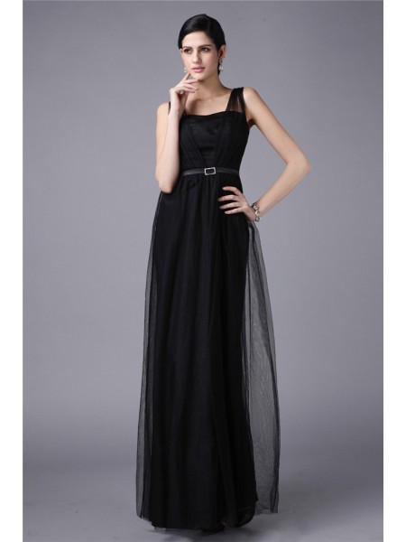 Sheath/Column Straps Sleeveless Sash Long Net Dresses