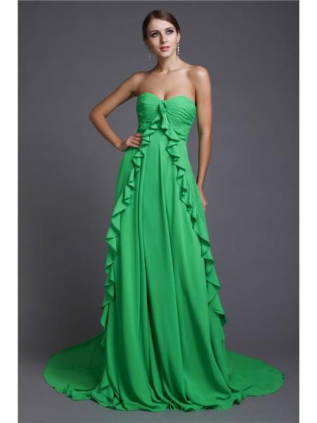 A-Line/Princess Sweetheart Sleeveless Ruffles Long Chiffon Dresses