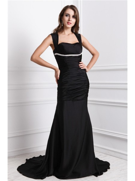 Trumpet/Mermaid Straps Sleeveless Long Beading Charmeuse Dresses