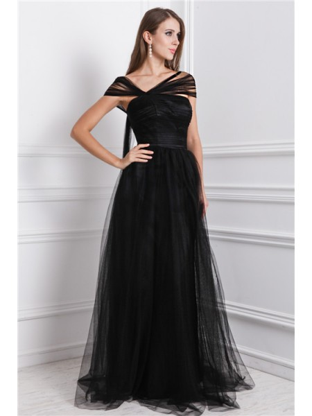 A-Line/Princess Bateau Sleeveless Ruffles Long Net Dresses