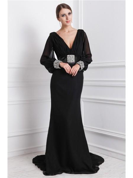 Trumpet/Mermaid V-neck Long Sleeves Beading Long Chiffon Dresses