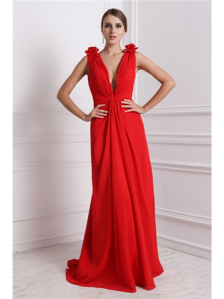 A-Line/Princess V-neck Sleeveless Long Hand-Made Flower Chiffon Dresses
