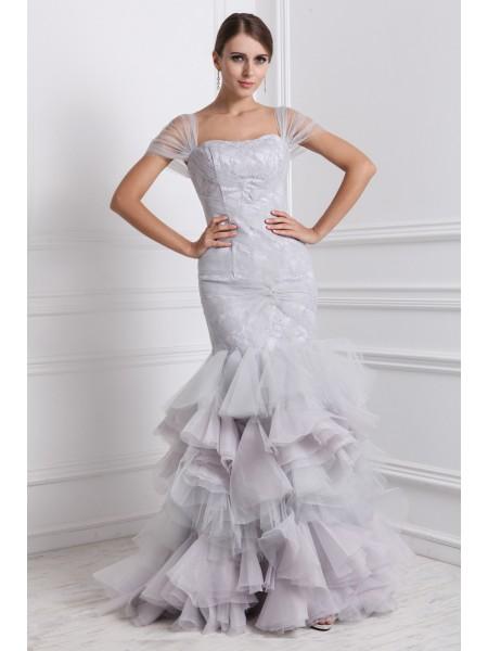 Trumpet/Mermaid Straps Short Sleeves Ruffles Long Organza Dresses