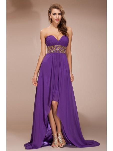 A-Line/Princess Sweetheart Sleeveless Beading High Low Chiffon Dresses