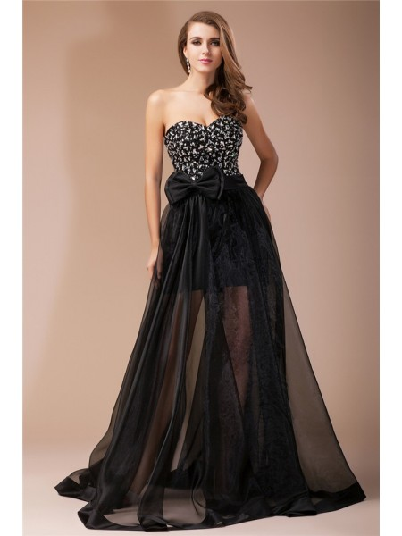Sheath/Column Sweetheart Beading Long Sleeveless Organza Elastic Woven Satin Dresses