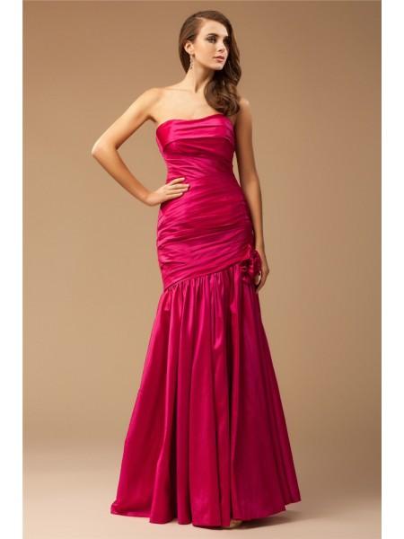 Trumpet/Mermaid Strapless Sleeveless Ruffles Long Taffeta Dresses