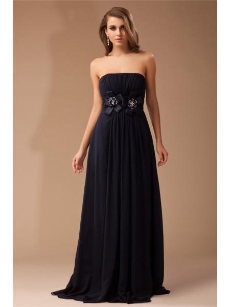 Sheath/Column Strapless Sleeveless Ruffles Long Beading Chiffon Elastic Woven Satin Dresses