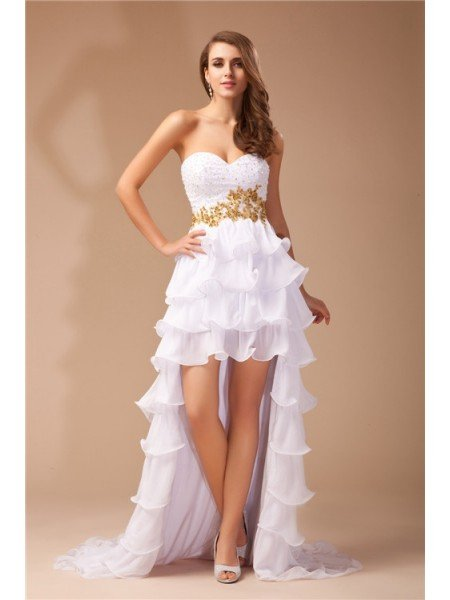 A-Line/Princess Sweetheart Sleeveless High Low Beading Chiffon Dresses