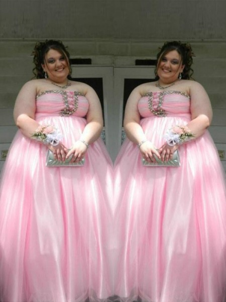 A-Line/Princess Strapless Sleeveless Beading Floor-Length Satin Plus Size Dresses