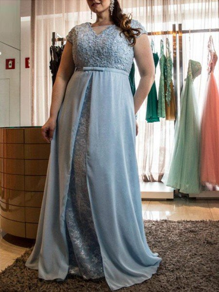 A-Line/Princess Scoop Short Sleeves Lace Floor-Length Chiffon Plus Size Dresses