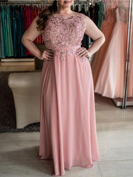 A-Line/Princess Bateau Sleeveless Beading Floor-Length Chiffon Plus Size Dresses