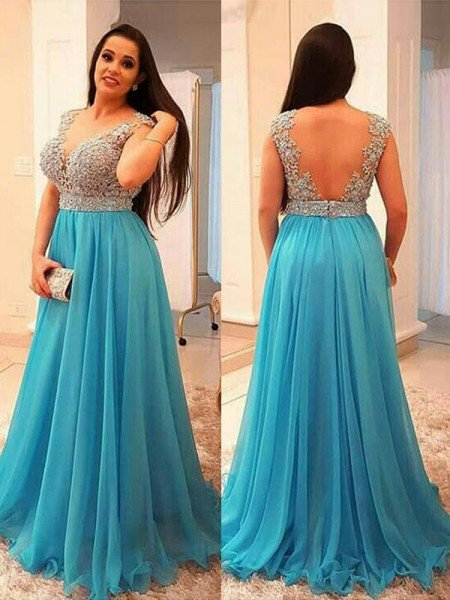 866d79c1df3 A-Line Princess V-neck Sleeveless Beading Sweep Brush Train Chiffon Plus