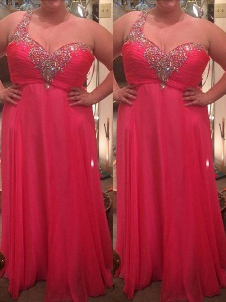 A-Line/Princess One-Shoulder Sleeveless Beading Floor-Length Chiffon Plus Size Dresses