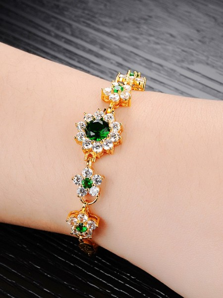 Ladies' Beautiful Rhinestone Copper Bracelets