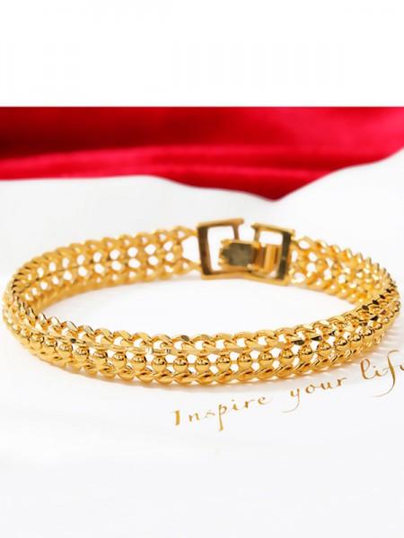 Ladies' Geometry Copper Rhinestone Bracelets