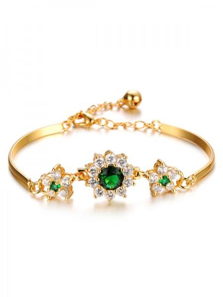 Ladies' Geometric Copper Flower Bracelets