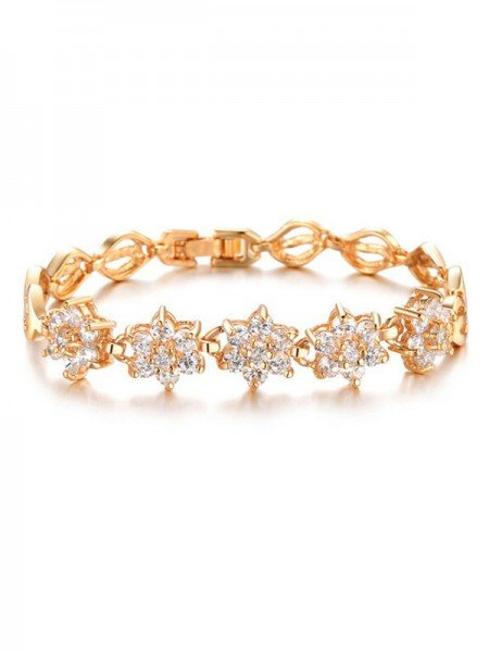 Fashion Flower Copper Rhinestone Bracelets