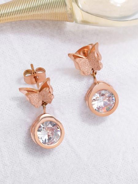 Fancy Titanium With Butterfly Earrings