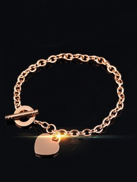 Brilliant Titanium With Heart Chain Bracelets For Ladies
