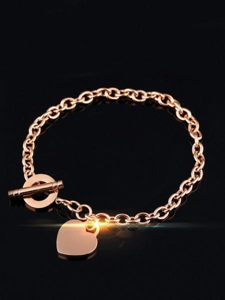 Brilliant Titanium With Heart Chain Bracelets For Ladies