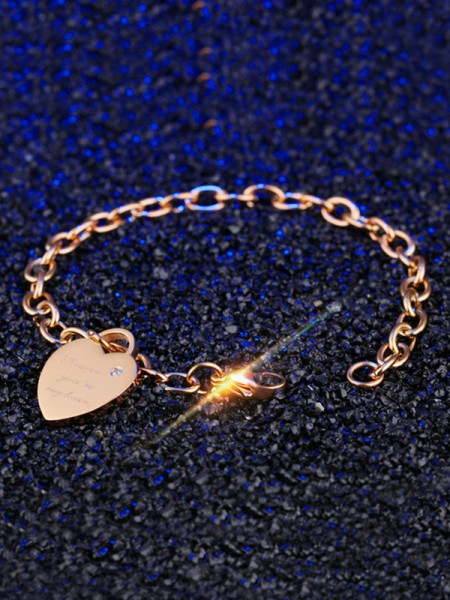 Pretty Titanium With Heart Chain Bracelets For Women