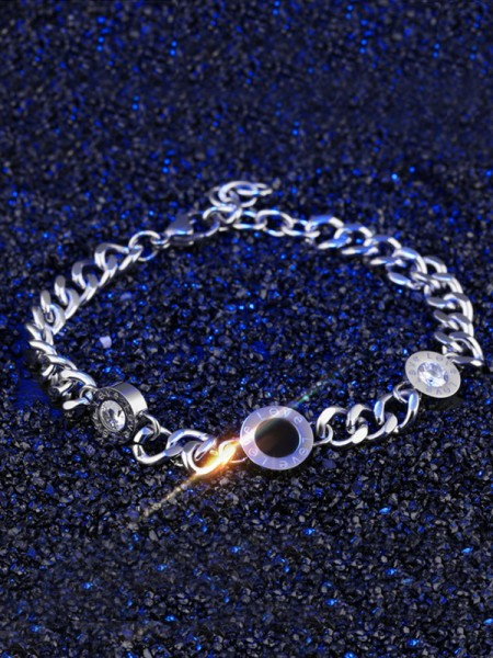 Glamorous Titanium With Rhinestone Chain Bracelets For Ladies