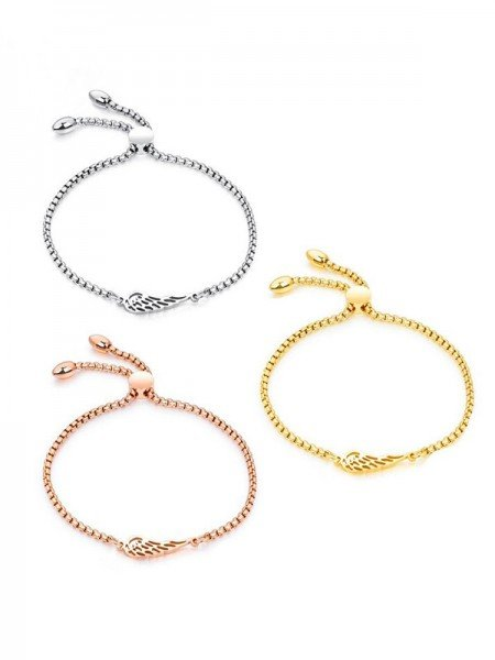Graceful Titanium With Wing Chain Bracelets For Women