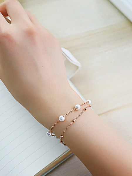 Ladies' Simple Titanium Beading Bracelets