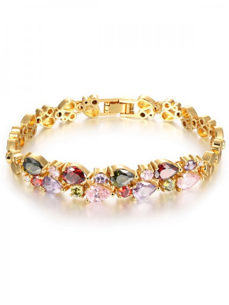 Retro Fashion Women' Copper Rhinestone Bracelets