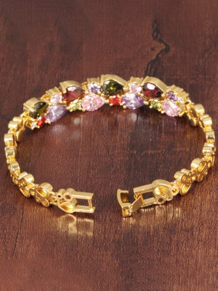 Ladies' Retro Fashion Copper Rhinestone Bracelets