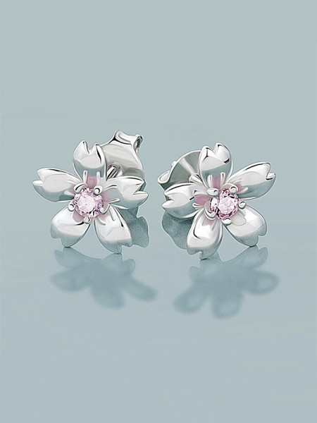 New 925 Sterling Silver With Flowers Women's Earrings