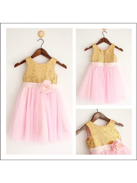 A-Line/Princess Scoop Sleeveless Sequin Long Tulle Flower Girl Dresses