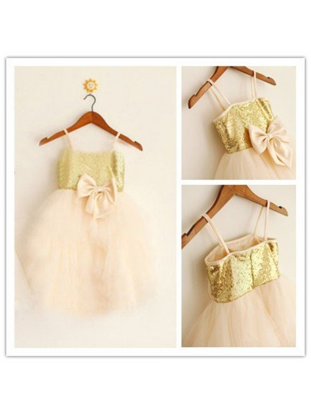 A-Line/Princess Spaghetti Straps Sleeveless Sequin Long Tulle Flower Girl Dresses
