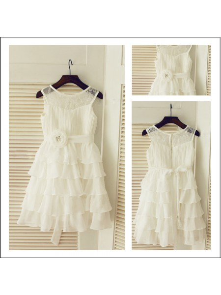 A-Line/Princess Scoop Sleeveless Layers Long Chiffon Flower Girl Dresses