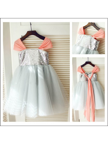 A-Line/Princess Straps Sleeveless Sequin Long Tulle Flower Girl Dresses