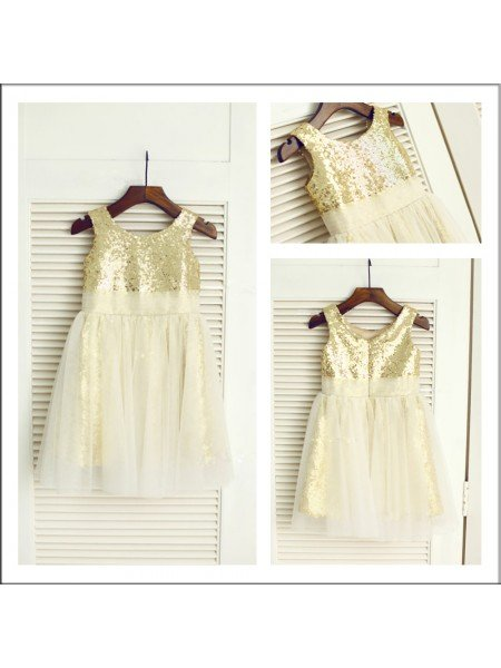 A-Line/Princess Scoop Sleeveless Sequin Long Sequins Flower Girl Dresses