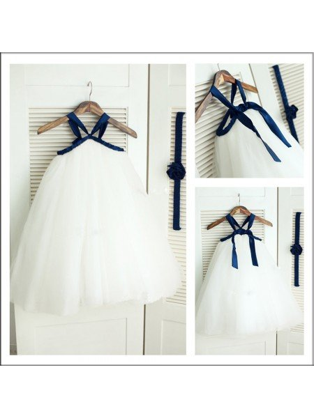 A-Line/Princess Spaghetti Straps Sleeveless Long Tulle Flower Girl Dresses