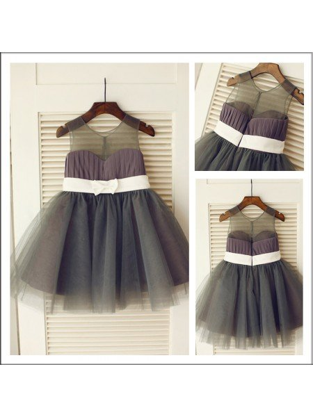 A-Line/Princess Scoop Sleeveless Sash/Ribbon/Belt Long Tulle Flower Girl Dresses